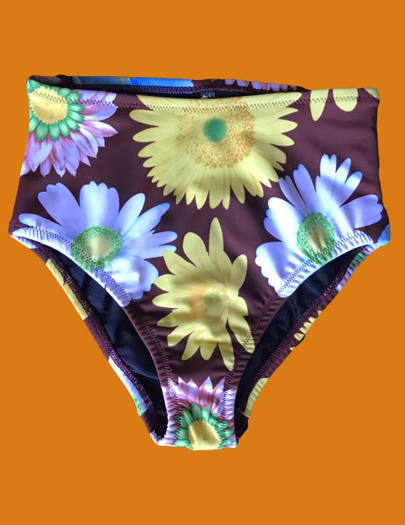 NEW Cocoa Flower High Waisted Cheeky Fit Bikini Bottom