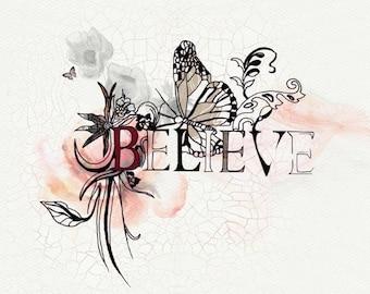 Believe Inspirational Print, Motivational Wall Decor, Modern Art, Typographic Print, Motivational Poster, Office Art