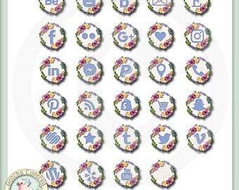 Social Media Icons Floral Wreath in blue