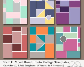 8.5x11 Photo Mood Board Template Pack, 12 Templates, Photo Collage, Scrapbooks, Photo Templates, Storyboard, Album Templates, Pinterest