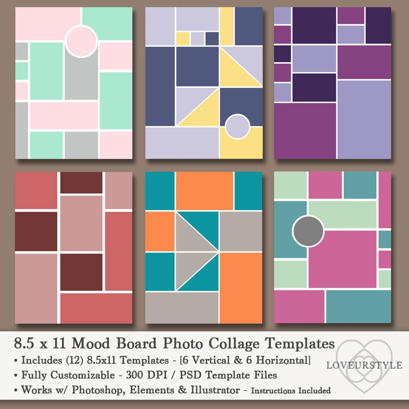8.5x11 Photo Mood Board Template Pack 12 Templates Photo