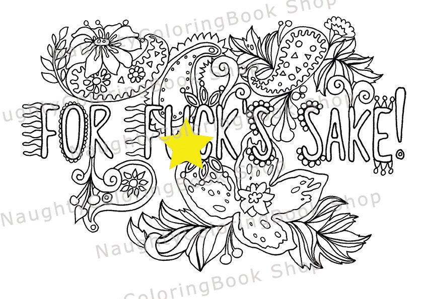 For fuk\'s sake Swear Words Printable Coloring Pages