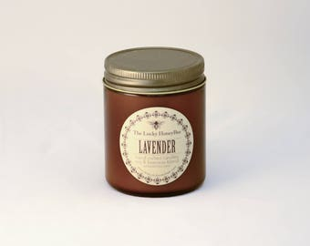 Lavender Candle || 8.5 oz Scented Candle || Soy + Beeswax Blend Candle in Amber Jar