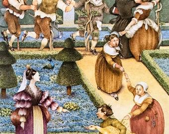 Vintage Illustration / Nursery Rhymes / Grimm's Fairy Tales / The Golden Goose / By Pauline Ellison / 1981 / Wall Art / Home Decor / nursery