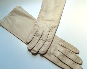 50s 60s Leather Gloves, Driving Gloves, Long, Opera Gloves, Tan, Beige, Leather, Aris, Mid Century, Vintage Gloves, Vintage Accessories