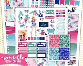 Floral Vibes Weekly Kit | PRINTABLE Planner Stickers | Pdf, Jpg, and Png Format | ECLP Vertical Planner Stickers