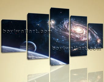 Large Outer Space Planets Painting Dining Room Pentaptych Panels print, Large space Wall Art, Dining Room, Tangaroa