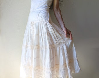 Indian Cotton Gauze and Lace Maxi Skirt // XS S