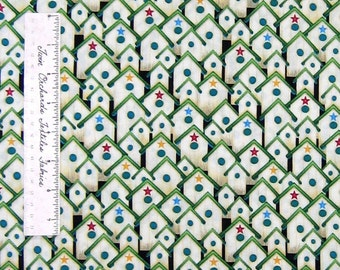 Cranston VIP Fabric - What's The Buzz Red Yellow Green Cream Birdhouse /Yd