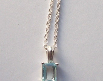 Vintage Emerald-Cut Blue Topaz Sterling Silver Necklace by OW - 18 inch Chain - 925 Mark Fine Jewelry