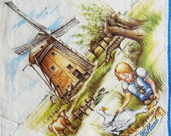 TOWEL in paper little girl and windmill in Holland #DI048