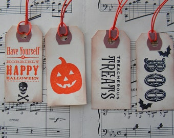 Halloween Tags - Assorted Halloween Tags - Mini - Halloween Decor - Black and Orange