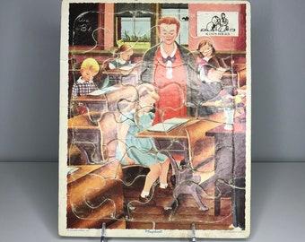 vintage schoolhouse classroom puzzle Playskool 80-10D