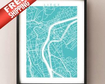 Liège Map Print - Lidje, Belgium Poster