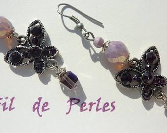 "Silver earrings ""Garnet"" papillon"""