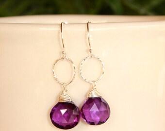 Amethyst Earrings, Gold or Silver, February Birthstone, Simple Earrings, Minimalist Earrings, Purple Gemstone, Lightweight Deep Amethyst