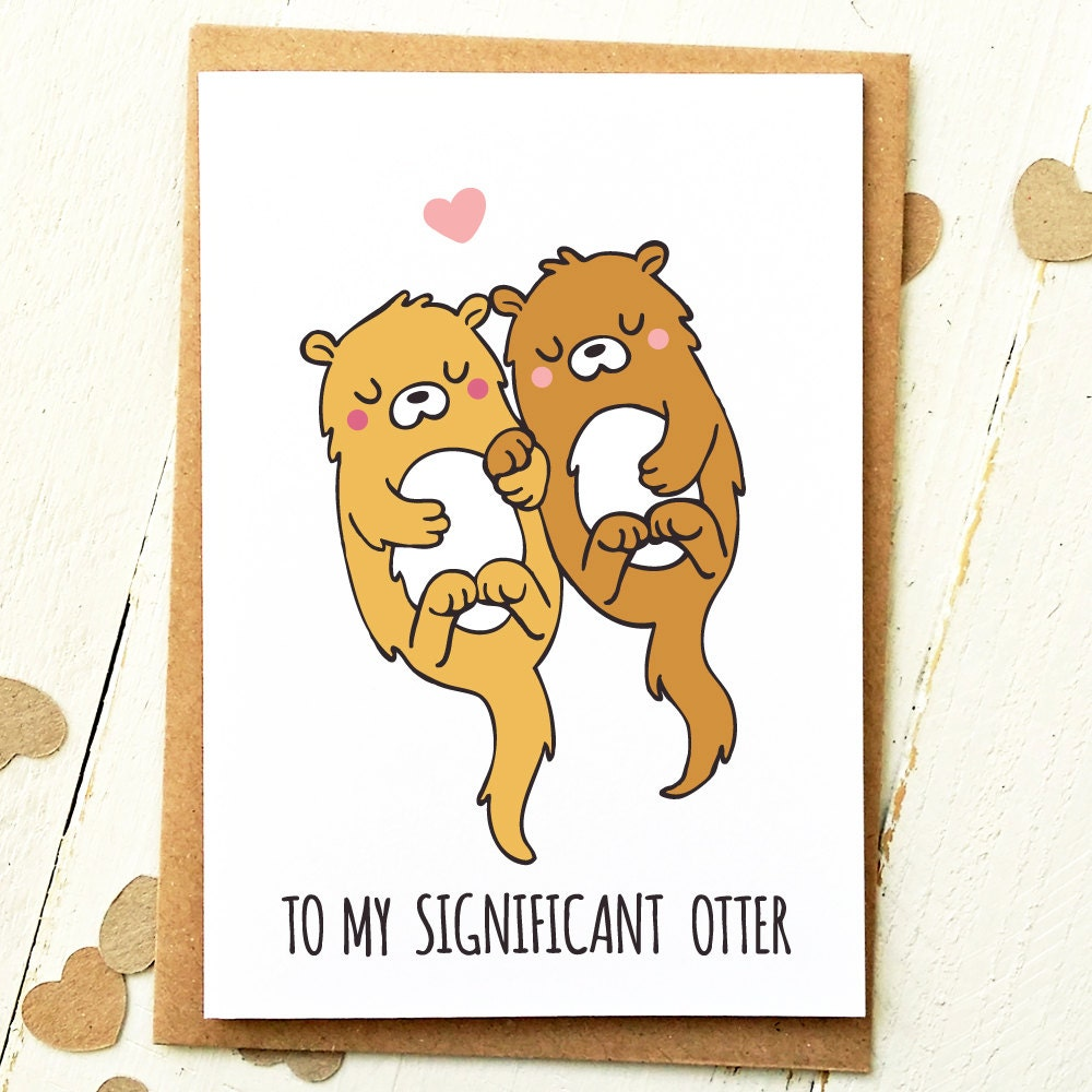 Significant Otter Valentines Day Card Valentine Card