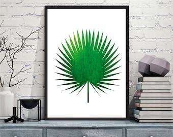 Art mural imprimable numérique imprime moderne palm vert feuille art imprimable art mural, gravures imprimables