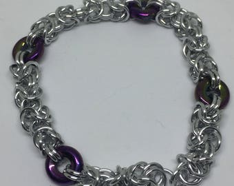 Purple and silver byzantine and glass bracelet