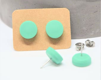 Mint green Polymer clay stud earrings