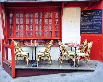 Paris cafe, Paris art print, Paris bistro, travel photography, fine art photography, kitchen art print, red, 16x24