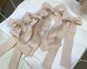 Set of 4 Washed Linen Curtain Bows - Your Linen Color Choice - Curtain Bows - Curtain Tie Backs