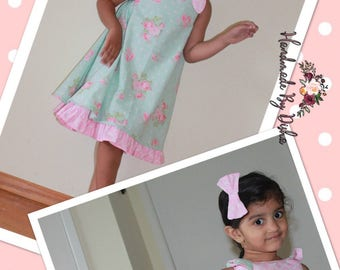 Ready to ship size 3 and 5 dress, valentines day dress, rose print dress, floral print dress, reversible swing dress.