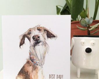 Fathers day card, Dad card, podenco art, best dad, Love dad, Dad dog card, Sighthound watercolour, podenco gift, dog card, doggo, Daddy card