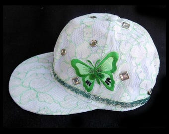 lace baseball hat - butterfly baseball hat -fashion cap, women's baseball hat, decorated cap, white green baseball hat,  -  # 38