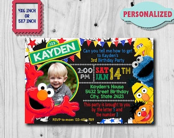 Elmo Invitation / Elmo Birthday Invitation / Sesame Street Invitation / Elmo Birthday Party / Elmo Birthday / Elmo Invite / Elmo Party CK