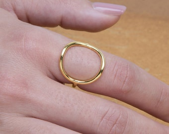 Silver Circle Ring, Gold Circle Ring, 925 Sterling Silver, Circle Ring ,Circle16mm(big)