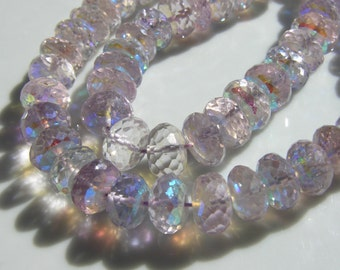 Gorgeous Mystic Pink Amethyst Faceted Rondelles    8