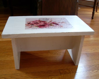 Shabby chic foot stool with poppies