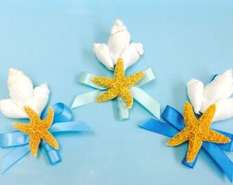 Beach Wedding Seashell and Starfish Boutonniere with 24 Ribbon Choices - Lapel Pin Nautical Coastal