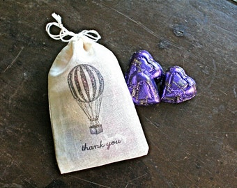 Wedding favor bags, set of 50 drawstring cotton bags, hot air balloon, thank you bags, party favor bags, bridal shower favor, hand stamped