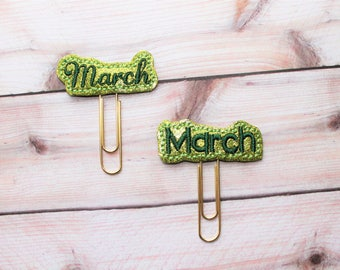 "March word vinyl planner paperclip, ""March"" month bookmark, Choice of font March  vinyl planner paperclip, planner paperclip accessory"