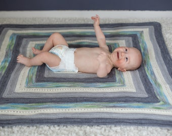 PDF Knitting Pattern - Baby's Square Blanket