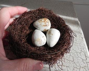 twig birds nest with 3 porcelain speckled eggs easter spring display