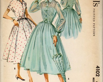 McCall's 4102 Shirtwaist 1950s Dress Full Gathered or Pleated Skirt, Lace Trimmed Front & Back Bodice Size 12 ©1957