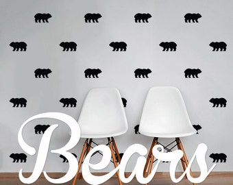 Bears Wall Decal Pack, Vinyl Wall Sticker Decal Art Pattern WAL-2189