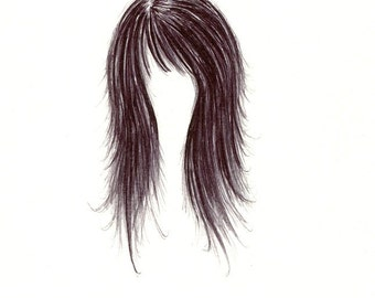 "Hair Print: digital print of an original drawing available 5x7"" or 8x10"""
