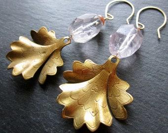 Lilac Amethyst & Sunstone Gold Vintage BELLE FLEUR Earrings - Etsy Jewelry - catROCKS - statement - Grace and Frankie - GLAM - Leaf - Floral