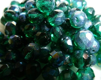 Czech glass beads 8mm set of 12 Emerald with iridescent AB