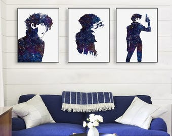 Freeshipping Modern Watercolor Cowboy Bebop Spike Canvas A4 Art Print Movie Poster Japanese Anime Wall Picture Home Decor Paintings No Frame