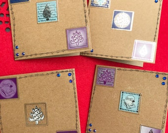 Blue & Purple Festive Cards (Pack of 4)