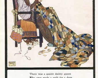 Vintage 1930's Quilting Queen w Verse by Edmund Dulac Illustration Bookplate Print for Framing