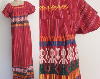 1970's Red Woven Striped Maxi Dress Embroidered Ethnic Dress Size Small Medium by Maeberry Vintage