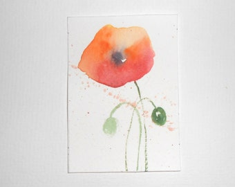 original watercolor painting ACEO flowers poppies 2.5x3.5 inches