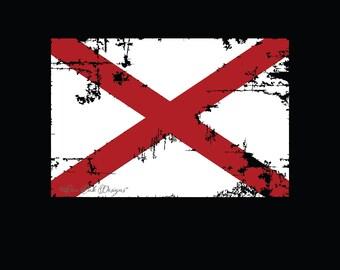 Alabama Flag Distressed SVG File, pdf, dxf, eps, ai, jpg, png  SVG file Cameo V2 V3 svg file for Cricut & other electronic cutters