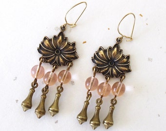 Vintage Beaded Earrings. Flowers. Blush Pink Glass Beads. Art Nouveau. Valentine. Gold Tone. Boho Chic. Chandelier. Dangle. 1960s. Romantic
